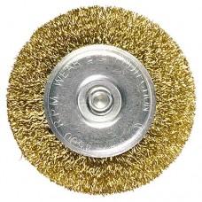 Щетка для дрели 100 мм, плоская со шпилькой, латунированная витая проволока. MATRIX