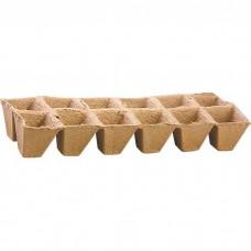 Торфяные горшочки 50 х 50 мм, квадратные, блок 12 ячеек. Россия