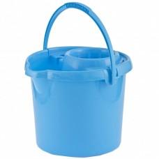 Ведро пластмассовое круглое с отжимом 12 л, голубое, Россия. Elfe