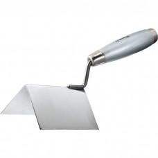 Мастерок из нержавеющей стали, 110 х 75 х 75 мм, для внешних углов, деревянная ручка. MATRIX