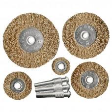Набор щеток для дрели, 5 шт, 5 плоских 25-38-50-63-75 мм, со шпильками, металлические. MATRIX