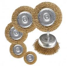 "Набор щеток для дрели, 6 шт, 5 плоских 40-50-65-75-100 мм + 1 ""чашка"" 50 мм, со шпильками. MATRIX"