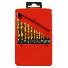 Набор нитридтитан. сверл по металлу, 1,5-6,5 мм (через 0,5 мм+3,2мм; 4,8 мм), НSS, 13 шт. MATRIX