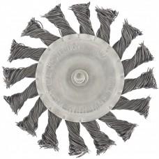 Щетка для дрели, 100 мм, плоская со шпилькой, крученая металлическая проволока. MATRIX