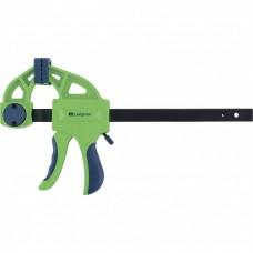 Струбцина F-образная, быстрозажимная, 150 х 70 х 360 мм, пластиковый корпус, фиксатор, двухкомпонентная рукоятка. СИБРТЕХ