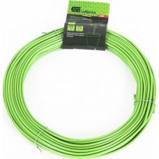 Проволока для подвязки, стальная в ПВХ (зелёный) 25 м, внутр. 1,6 мм / внеш. 3 мм. СИБРТЕХ
